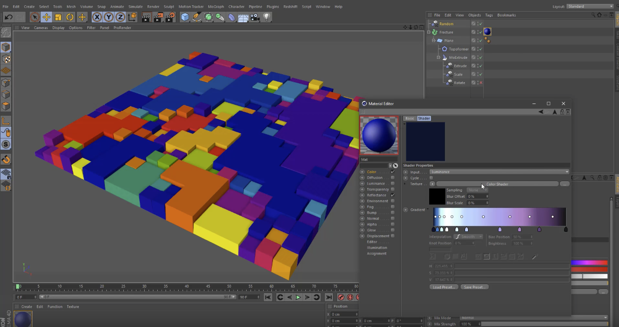 Cinema 4D Viewport showing fragmented topology being colored randomly withe the Color Shader