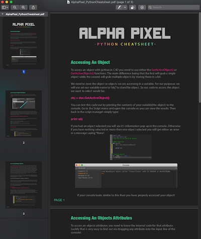 Alpha Pixel C4D Python Cheatsheet