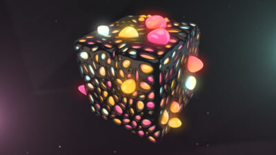 C4D Multicolor Cube with Bubble growing out